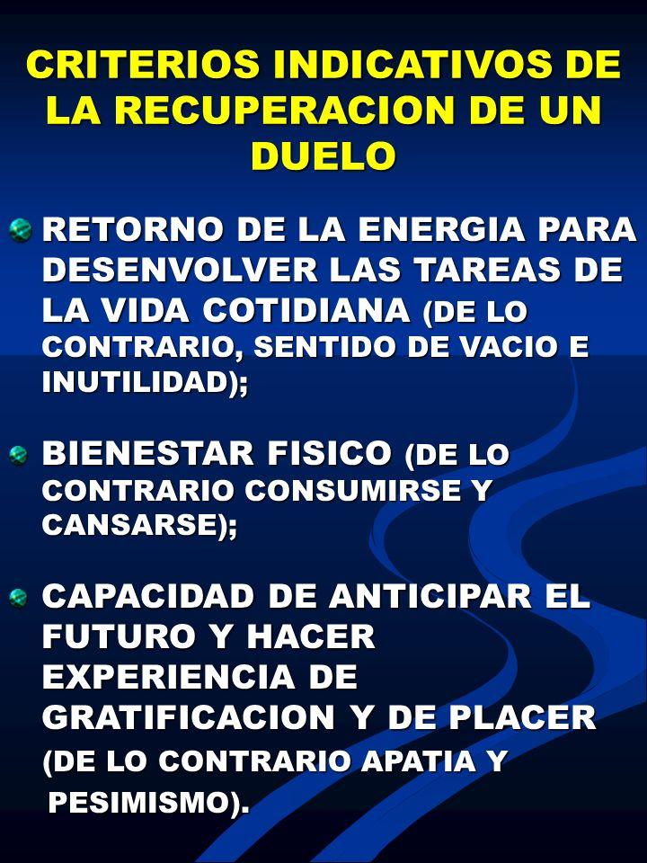 CRITERIOS INDICATIVOS DE LA RECUPERACION DE UN DUELO RETORNO DE LA ENERGIA PARA DESENVOLVER LAS TAREAS DE LA VIDA COTIDIANA (DE LO CONTRARIO, SENTIDO