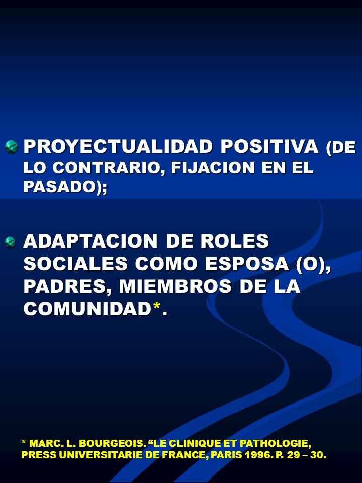PROYECTUALIDAD POSITIVA (DE LO CONTRARIO, FIJACION EN EL PASADO); ADAPTACION DE ROLES SOCIALES COMO ESPOSA (O), PADRES, MIEMBROS DE LA COMUNIDAD*. * M