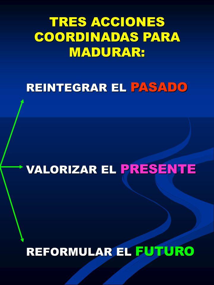 TRES ACCIONES COORDINADAS PARA MADURAR: REINTEGRAR EL PASADO VALORIZAR EL PRESENTE REFORMULAR EL FUTURO