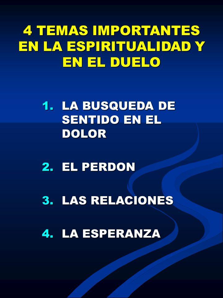 4 TEMAS IMPORTANTES EN LA ESPIRITUALIDAD Y EN EL DUELO 1.LA BUSQUEDA DE SENTIDO EN EL DOLOR 2.EL PERDON 3.LAS RELACIONES 4.LA ESPERANZA