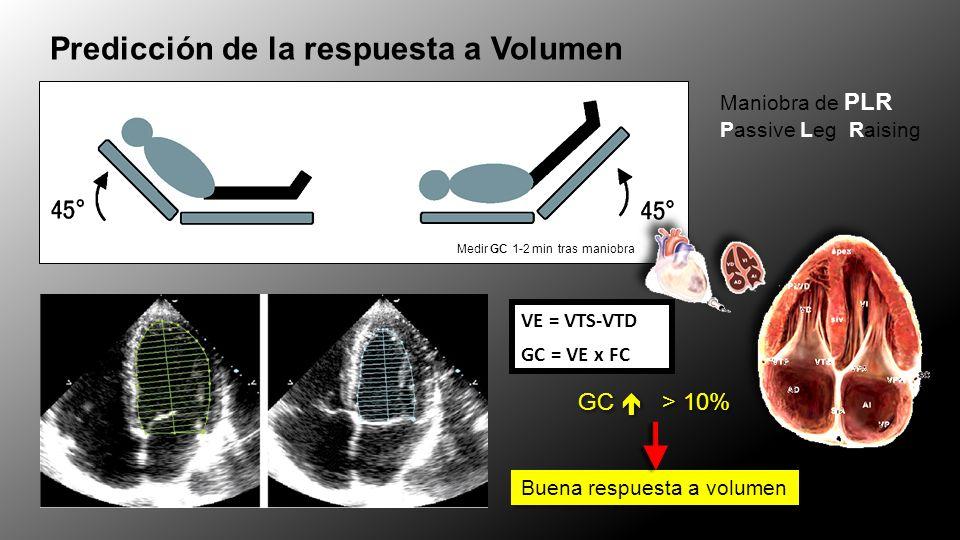 Medir GC 1-2 min tras maniobra Predicción de la respuesta a Volumen Maniobra de PLR Passive Leg Raising VE = VTS-VTD GC = VE x FC GC > 10% Buena respu