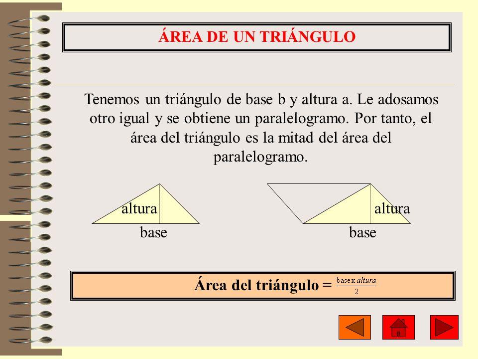 ÁREA DE UN TRIÁNGULO Área del triángulo = altura base altura Tenemos un triángulo de base b y altura a. Le adosamos otro igual y se obtiene un paralel