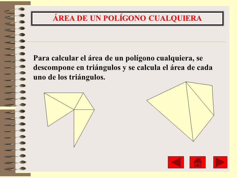 ÁREA DE UN POLÍGONO CUALQUIERA Para calcular el área de un polígono cualquiera, se descompone en triángulos y se calcula el área de cada uno de los tr