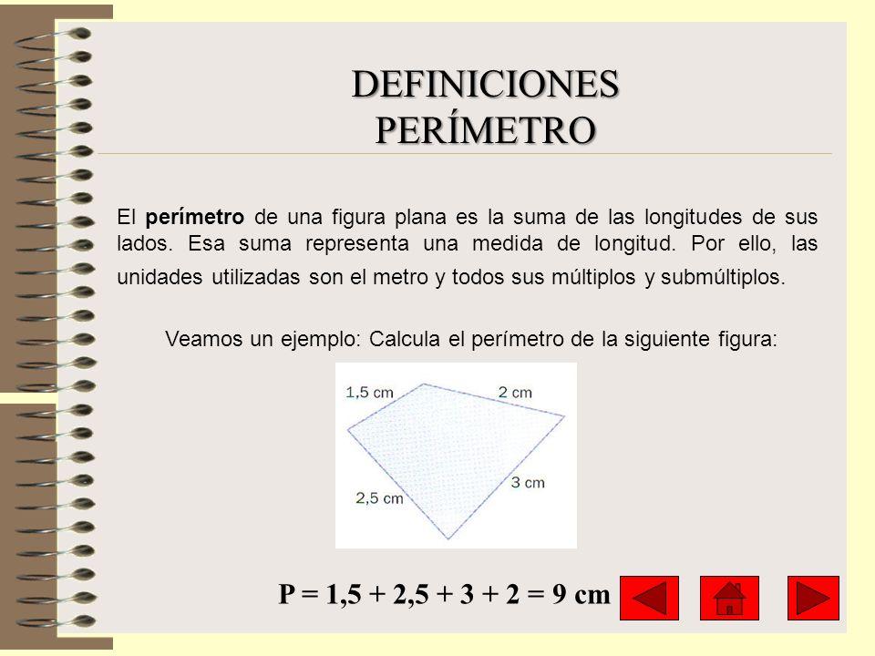 DEFINICIONESPERÍMETRO El perímetro de una figura plana es la suma de las longitudes de sus lados. Esa suma representa una medida de longitud. Por ello