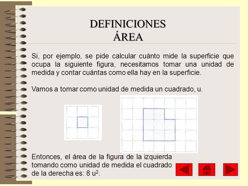 Si, por ejemplo, se pide calcular cuánto mide la superficie que ocupa la siguiente figura, necesitamos tomar una unidad de medida y contar cuántas com