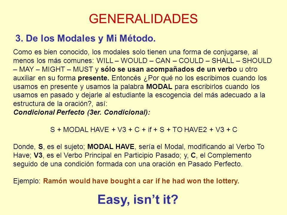 GENERALIDADES 3.De los Modales y Mi Método.