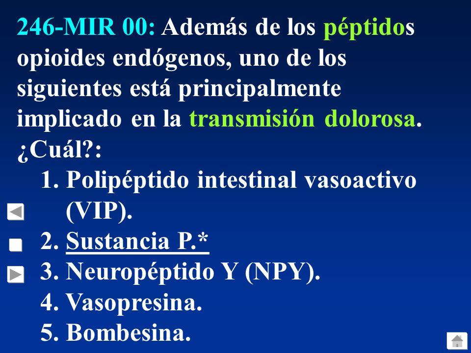 246-MIR 00: Además de los péptidos opioides endógenos, uno de los siguientes está principalmente implicado en la transmisión dolorosa.