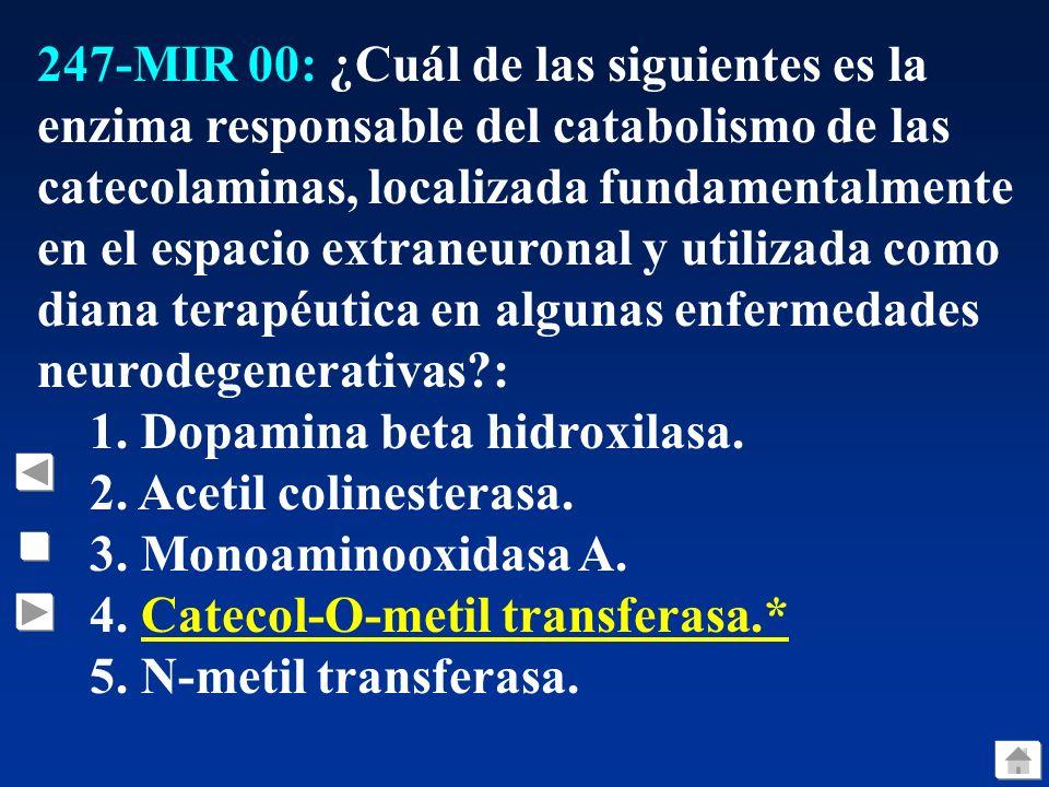 247-MIR 00: ¿Cuál de las siguientes es la enzima responsable del catabolismo de las catecolaminas, localizada fundamentalmente en el espacio extraneur