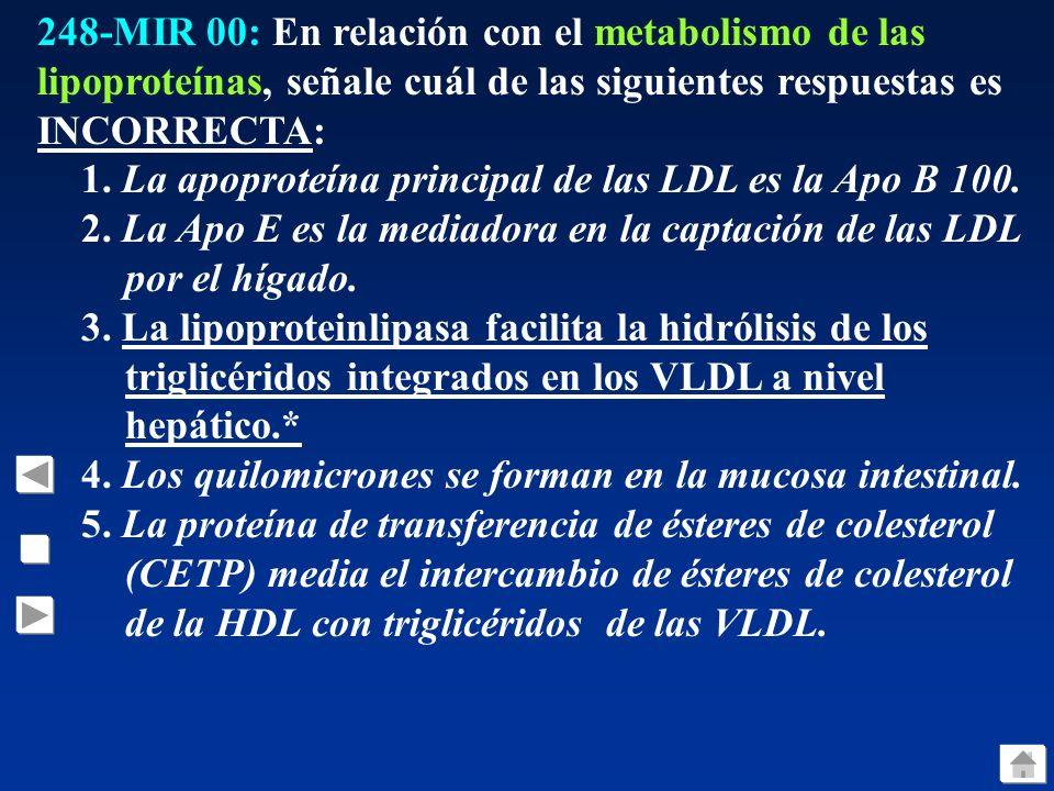 248-MIR 00: En relación con el metabolismo de las lipoproteínas, señale cuál de las siguientes respuestas es INCORRECTA: 1.