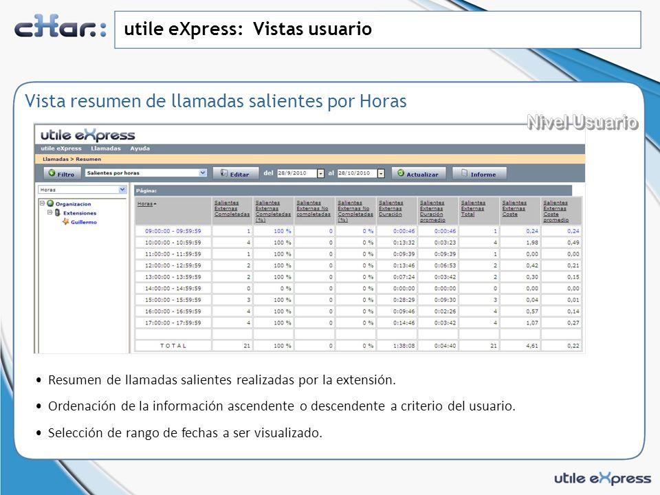 utile eXpress: Vistas usuario Vista resumen de llamadas salientes por Horas Resumen de llamadas salientes realizadas por la extensión.