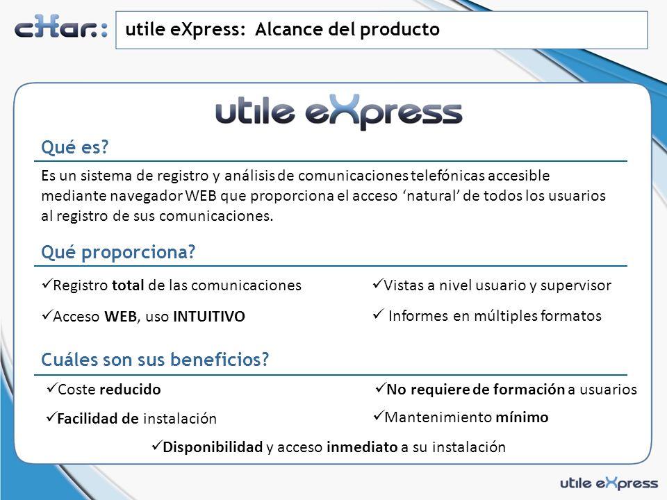 utile eXpress: Alcance del producto Qué es.Qué proporciona.