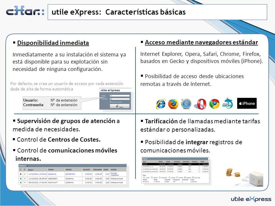 utile eXpress: Características básicas Acceso mediante navegadores estándar Internet Explorer, Opera, Safari, Chrome, Firefox, basados en Gecko y dispositivos móviles (iPhone).