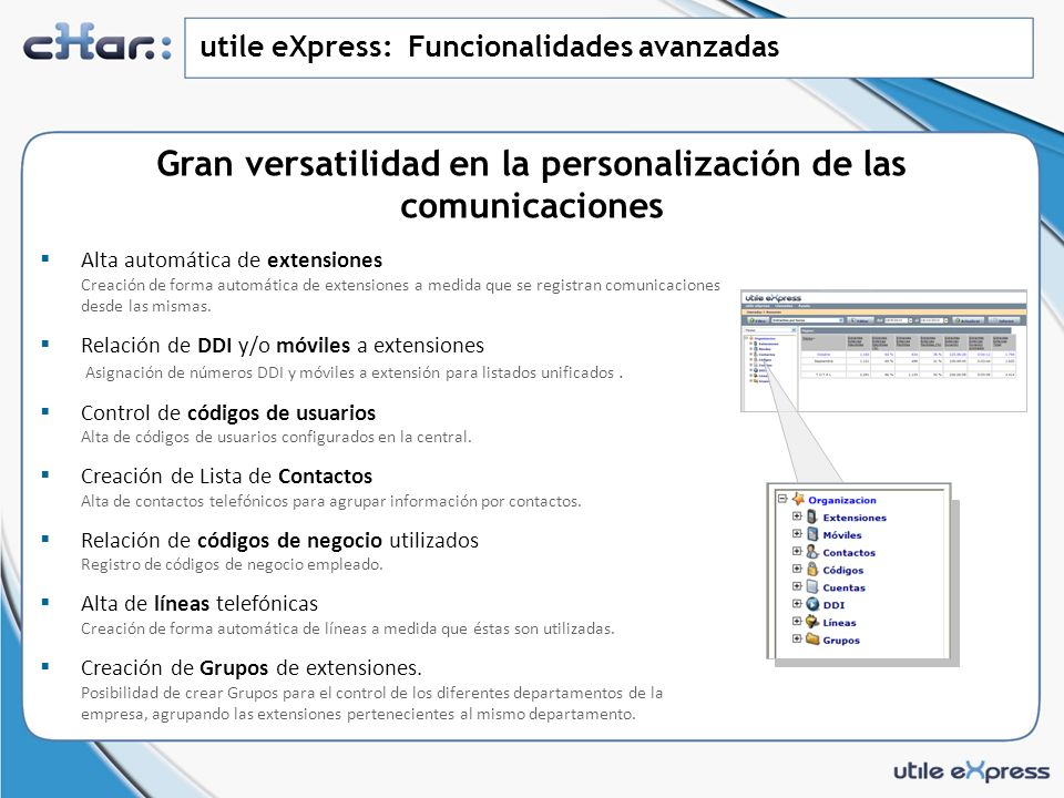 utile eXpress: Vistas Usuario Vista detalle de todas las comunicaciones Información detallada de todas las comunicaciones realizadas por la extensión, usuario.