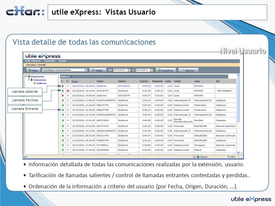 utile eXpress: Resumen de prestaciones básicas utile eXpress proporciona un registro de comunicaciones con un alto nivel de funcionalidad para un control natural de los datos.