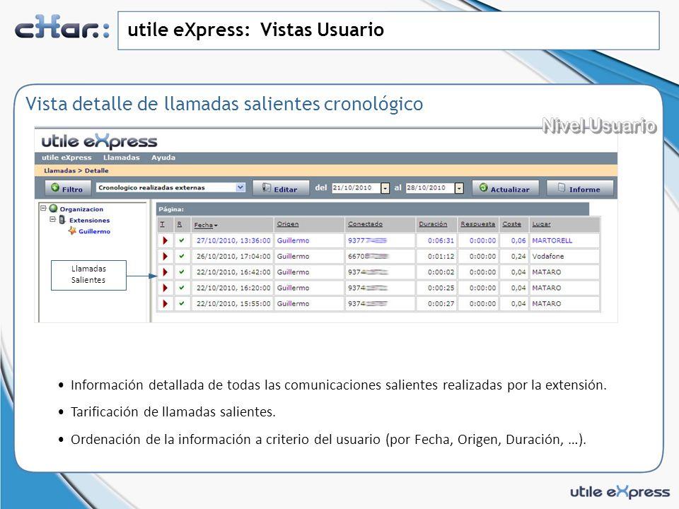 utile eXpress: Vistas Usuario Vista detalle de llamadas salientes cronológico Información detallada de todas las comunicaciones salientes realizadas por la extensión.