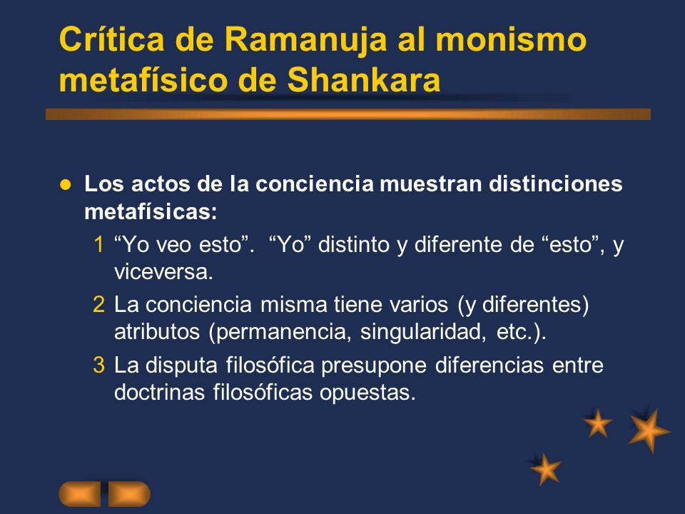 Crítica de Ramanuja al monismo metafísico de Shankara Los actos de la conciencia muestran distinciones metafísicas: 1Yo veo esto. Yo distinto y difere