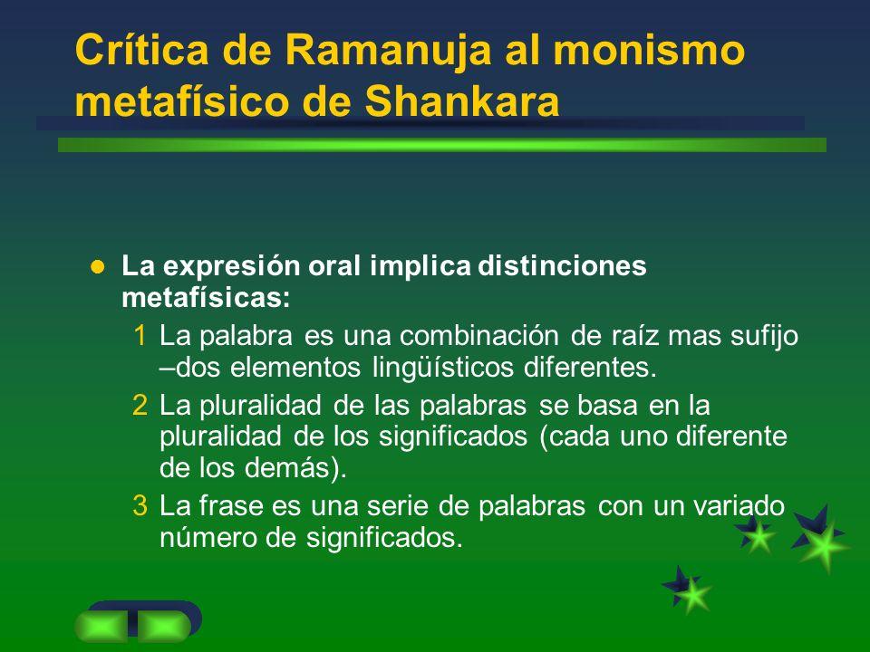 Crítica de Ramanuja al monismo metafísico de Shankara La expresión oral implica distinciones metafísicas: 1La palabra es una combinación de raíz mas s
