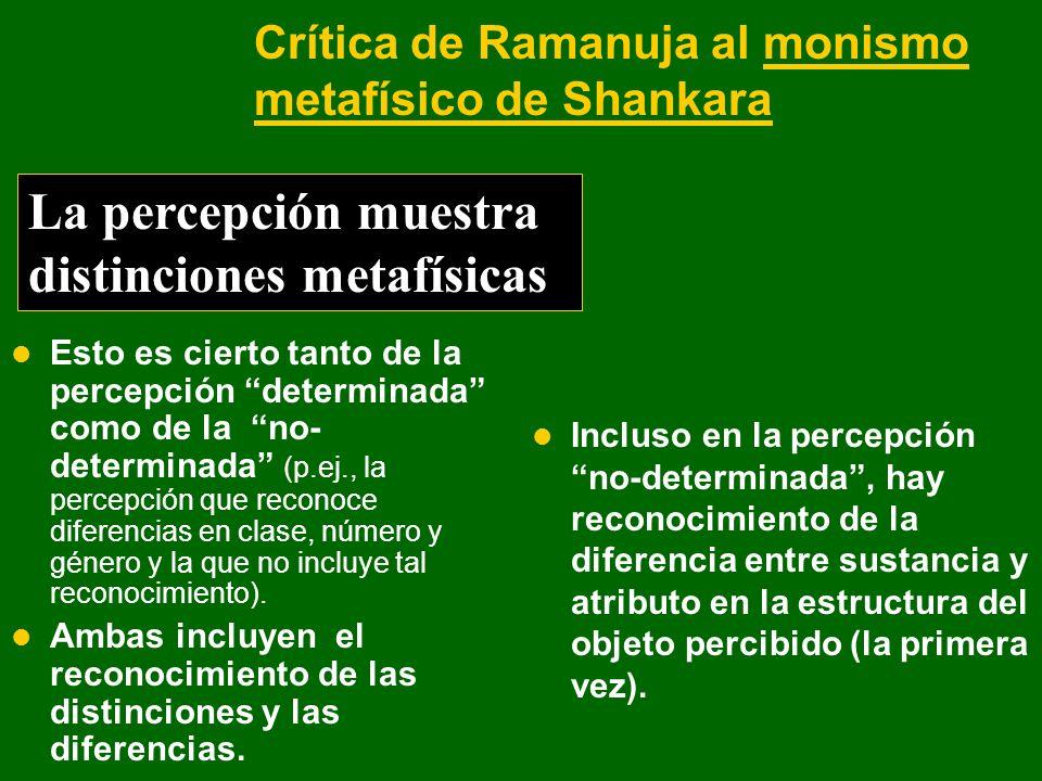 Crítica de Ramanuja al monismo metafísico de Shankara Esto es cierto tanto de la percepción determinada como de la no- determinada (p.ej., la percepci