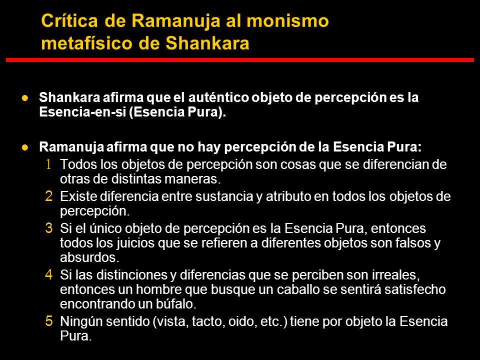 Crítica de Ramanuja al monismo metafísico de Shankara Shankara afirma que el auténtico objeto de percepción es la Esencia-en-si (Esencia Pura). Ramanu