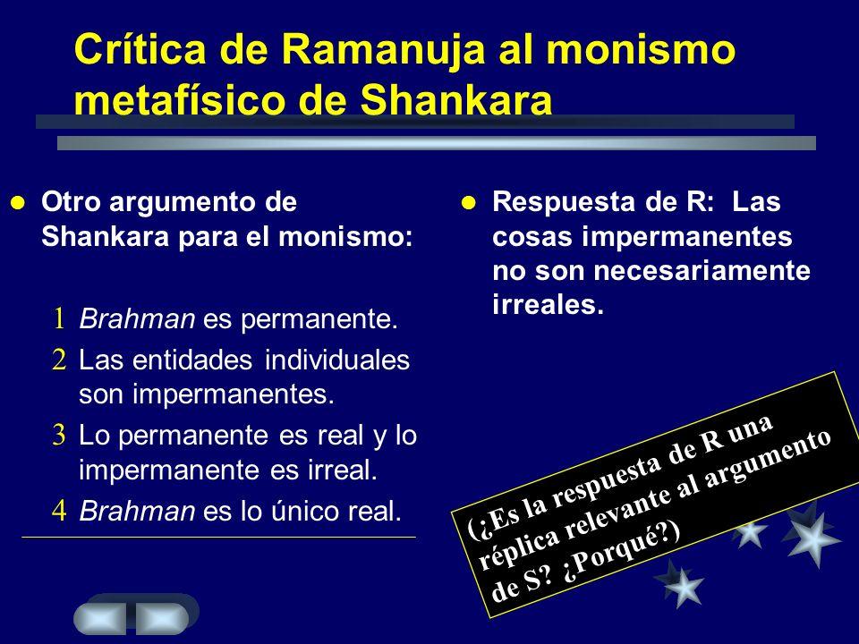 Crítica de Ramanuja al monismo metafísico de Shankara Otro argumento de Shankara para el monismo: Brahman es permanente. Las entidades individuales so