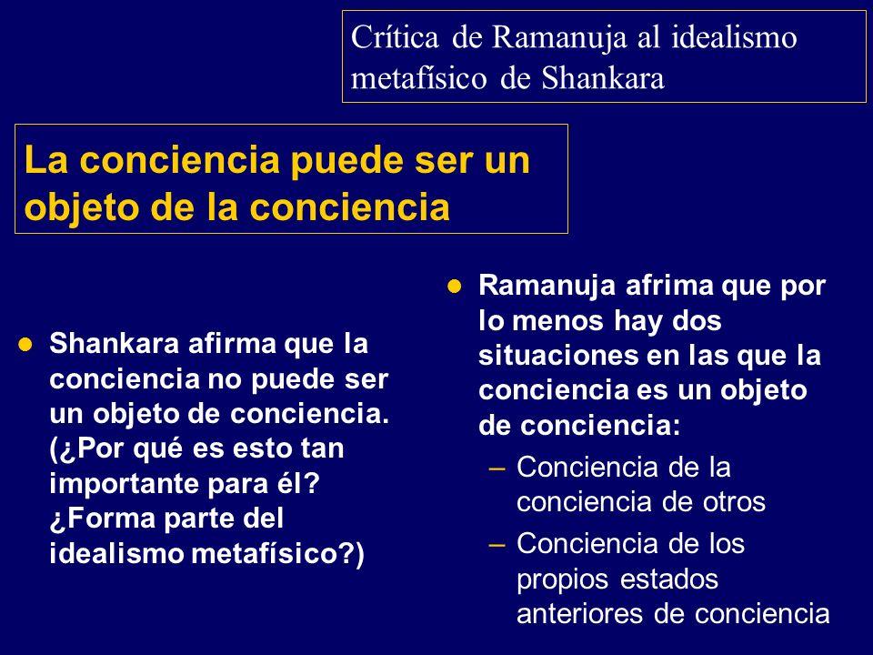La conciencia puede ser un objeto de la conciencia Shankara afirma que la conciencia no puede ser un objeto de conciencia. (¿Por qué es esto tan impor