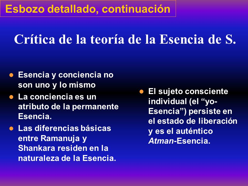 Esbozo detallado, continuación Esencia y conciencia no son uno y lo mismo La conciencia es un atributo de la permanente Esencia. Las diferencias básic