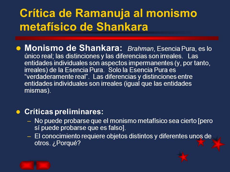 Crítica de Ramanuja al monismo metafísico de Shankara Monismo de Shankara: Brahman, Esencia Pura, es lo único real; las distinciones y las diferencias