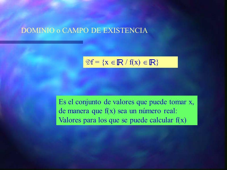 Elementos básicos en el estudio de una función. DOMINIO o CAMPO DE EXISTENCIA RECORRIDO o IMAGEN GRÁFICA o GRAFO
