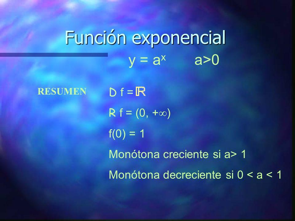Función exponencial y = 05 x y = 01 x y = (1/e) x D f = R f = (0, + ) Asíntota horizontal y = 0 Función monótona decreciente