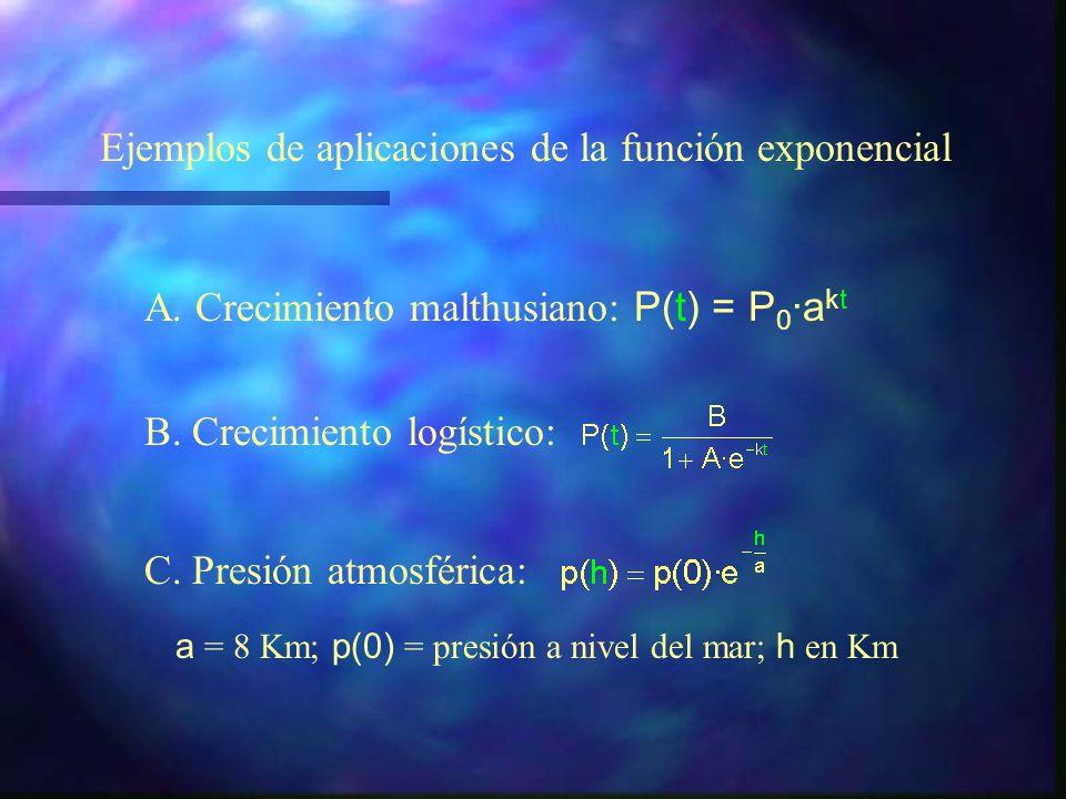 D f = R f = (0, + ) f(0) = 1 Monótona creciente si a> 1 Monótona decreciente si 0 < a < 1 Función exponencial y = a x a>0 RESUMEN