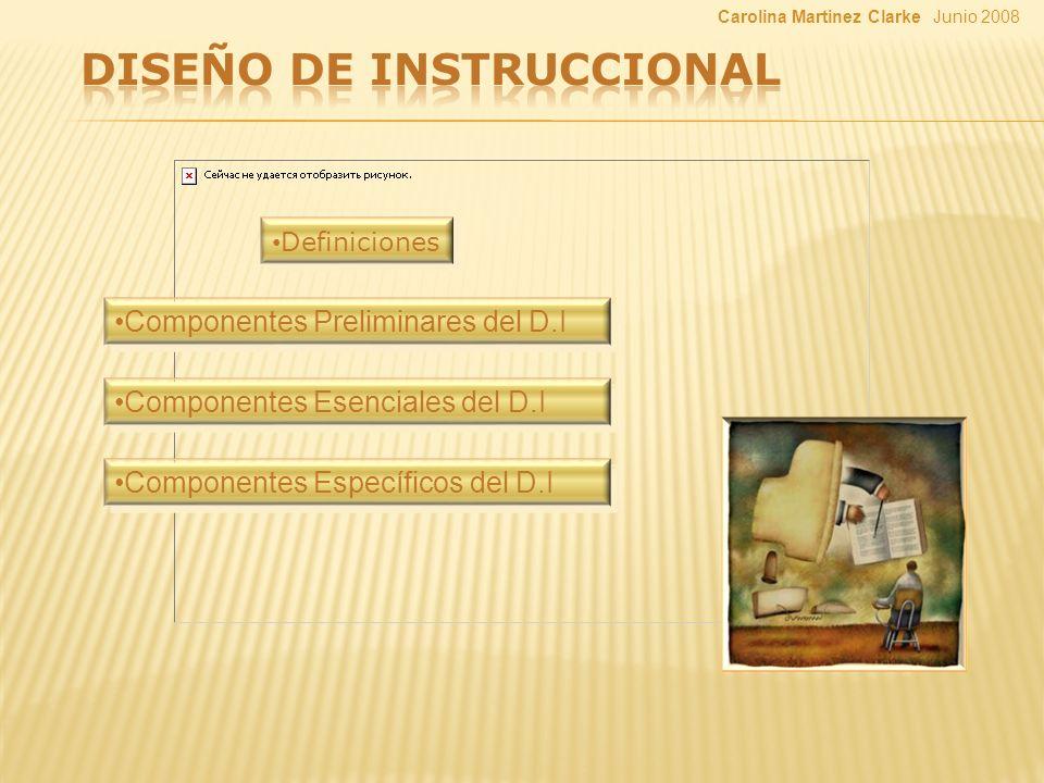 Definiciones Componentes Preliminares del D.I Componentes Esenciales del D.I Componentes Específicos del D.I Junio 2008Carolina Martinez Clarke