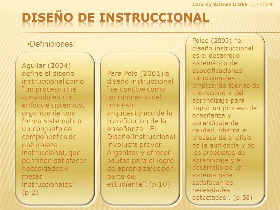 Definiciones: Aguilar (2004) define el diseño instruccional como un proceso que apoyado en un enfoque sistémico, organiza de una forma sistemática un conjunto de componentes de naturaleza instruccional, que permiten satisfacer necesidades y metas instruccionales (p.2) Para Polo (2001) el diseño instruccional se concibe como un momento del proceso arquitectónico de la planificación de la enseñanza… El Diseño Instruccional involucra prever, organizar y ofrecer pautas para el logro de aprendizajes por parte del estudiante.