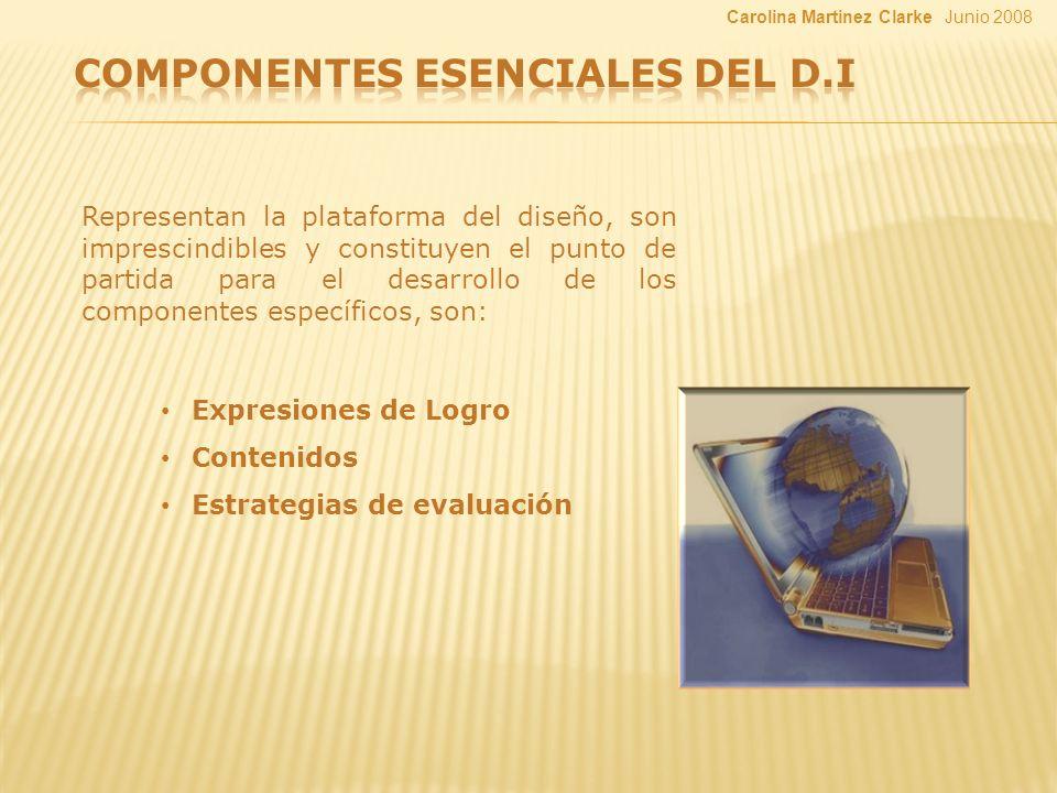 Representan la plataforma del diseño, son imprescindibles y constituyen el punto de partida para el desarrollo de los componentes específicos, son: Expresiones de Logro Contenidos Estrategias de evaluación Junio 2008Carolina Martinez Clarke