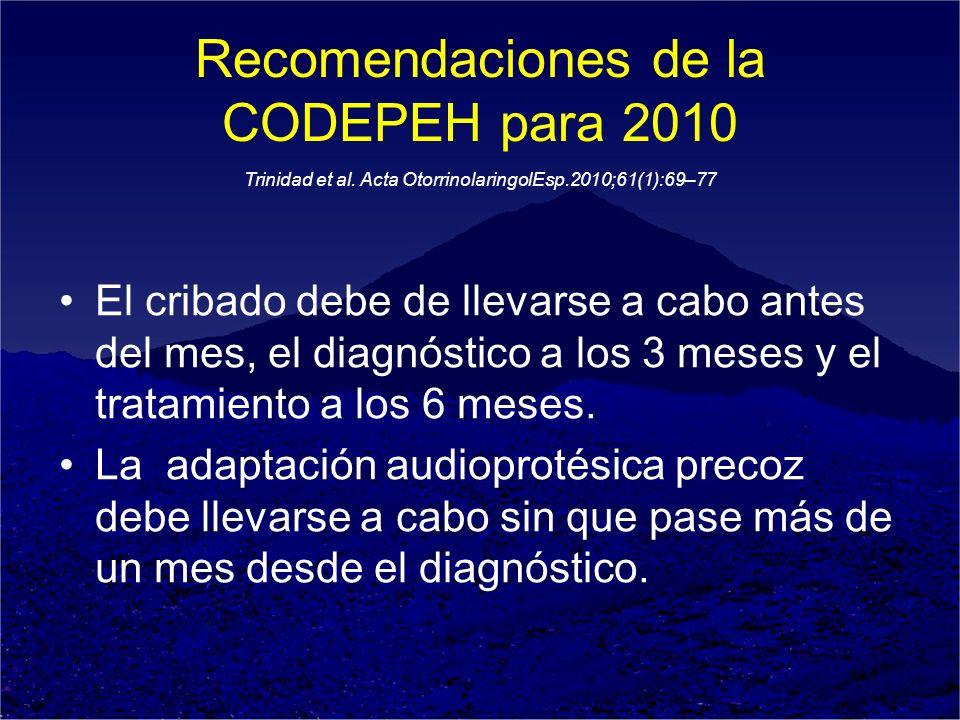 Recomendaciones de la CODEPEH para 2010 El cribado debe de llevarse a cabo antes del mes, el diagnóstico a los 3 meses y el tratamiento a los 6 meses.