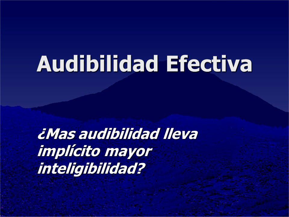 Audibilidad Efectiva ¿Mas audibilidad lleva implícito mayor inteligibilidad?