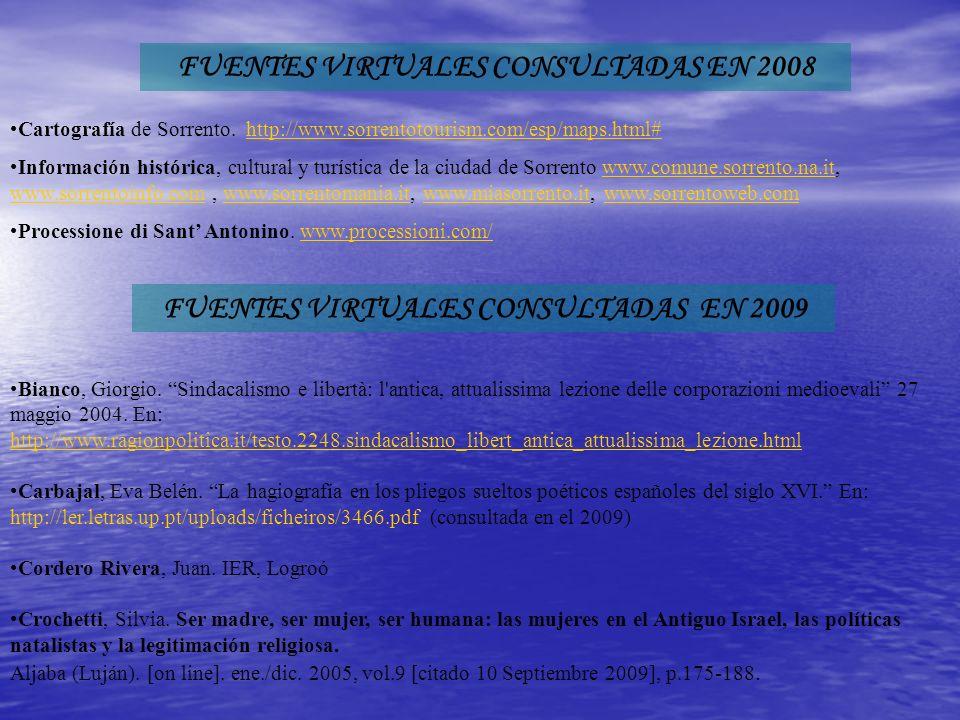 FUENTES VIRTUALES CONSULTADAS EN 2008 Cartografía de Sorrento.