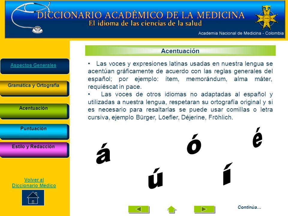 Acentuación Las voces y expresiones latinas usadas en nuestra lengua se acentúan gráficamente de acuerdo con las reglas generales del español; por eje