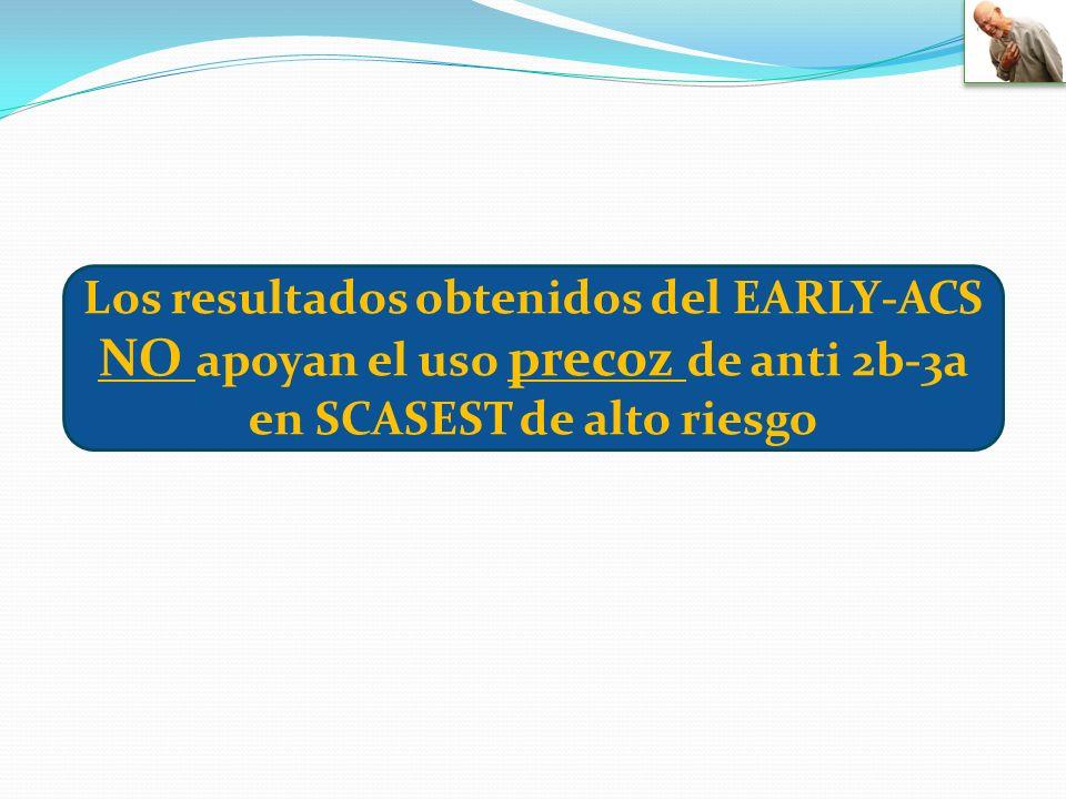 Los resultados obtenidos del EARLY-ACS NO apoyan el uso precoz de anti 2b-3a en SCASEST de alto riesgo