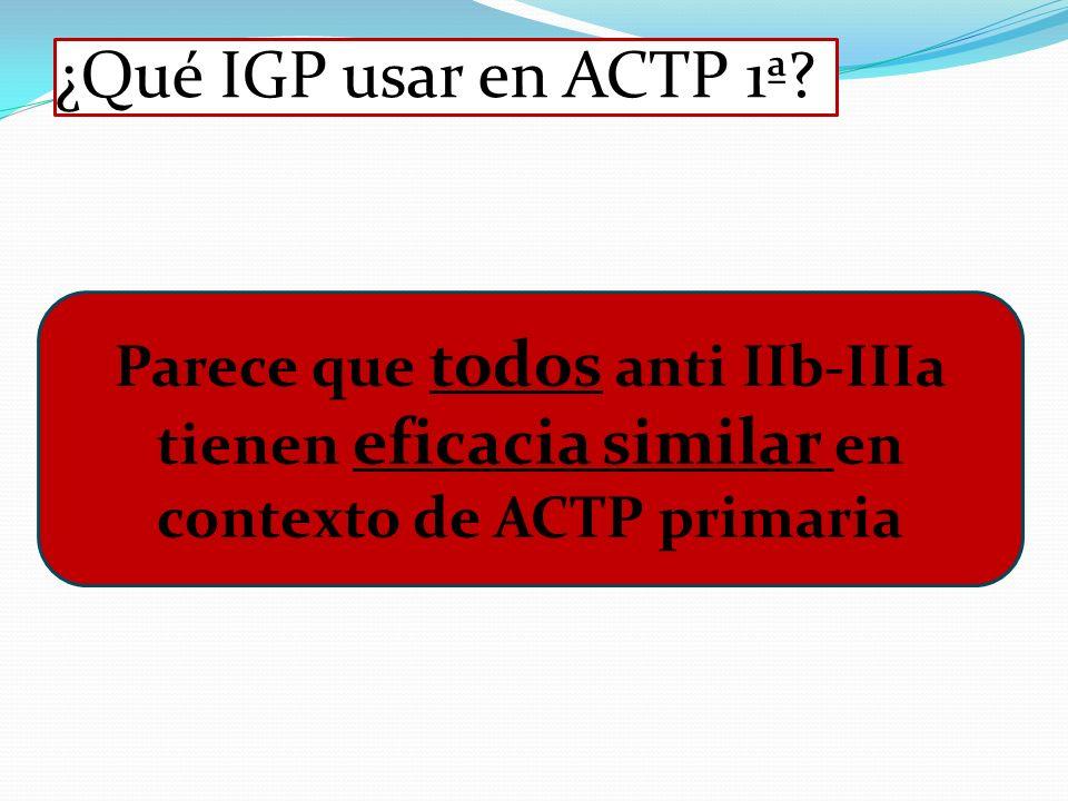 ¿Qué IGP usar en ACTP 1ª? Parece que todos anti IIb-IIIa tienen eficacia similar en contexto de ACTP primaria