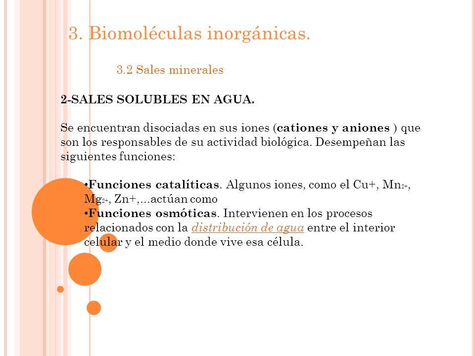 3.Biomoléculas inorgánicas. 3.2 Sales minerales 2-SALES SOLUBLES EN AGUA.