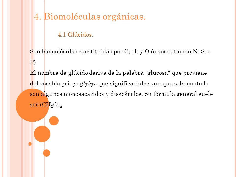 4. Biomoléculas orgánicas. 4.1 Glúcidos. Son biomoléculas constituidas por C, H, y O (a veces tienen N, S, o P) El nombre de glúcido deriva de la pala