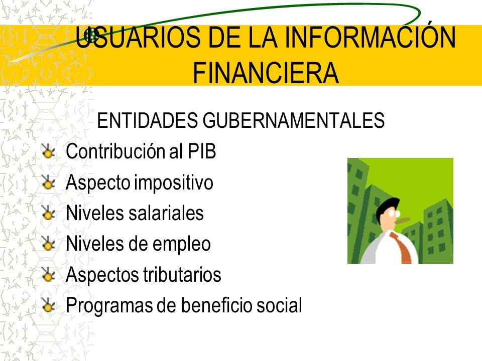 USUARIOS DE LA INFORMACIÓN FINANCIERA ENTIDADES GUBERNAMENTALES Contribución al PIB Aspecto impositivo Niveles salariales Niveles de empleo Aspectos t