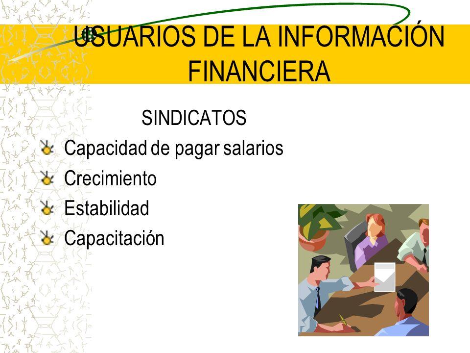 USUARIOS DE LA INFORMACIÓN FINANCIERA SINDICATOS Capacidad de pagar salarios Crecimiento Estabilidad Capacitación