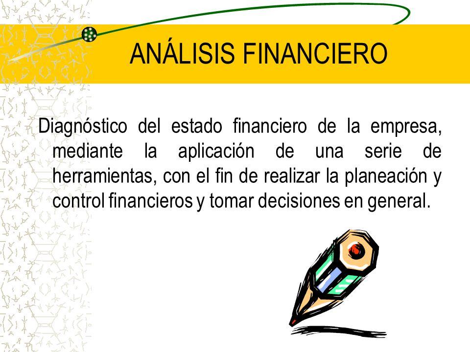 ANÁLISIS FINANCIERO Diagnóstico del estado financiero de la empresa, mediante la aplicación de una serie de herramientas, con el fin de realizar la pl