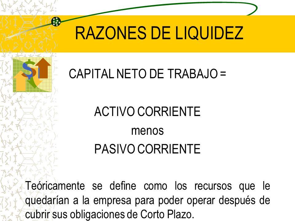 RAZONES DE LIQUIDEZ CAPITAL NETO DE TRABAJO = ACTIVO CORRIENTE menos PASIVO CORRIENTE Teóricamente se define como los recursos que le quedarían a la e