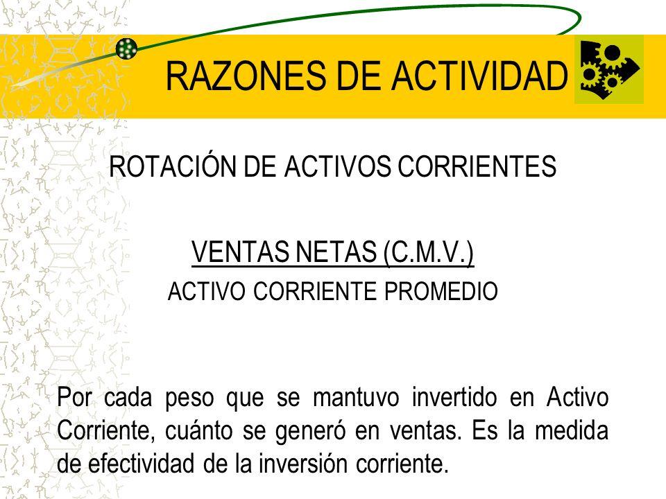 RAZONES DE ACTIVIDAD ROTACIÓN DE ACTIVOS CORRIENTES VENTAS NETAS (C.M.V.) ACTIVO CORRIENTE PROMEDIO Por cada peso que se mantuvo invertido en Activo C