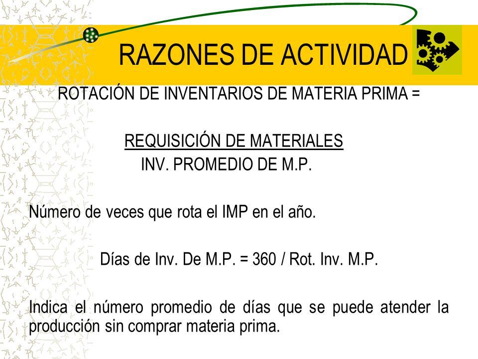 RAZONES DE ACTIVIDAD ROTACIÓN DE INVENTARIOS DE MATERIA PRIMA = REQUISICIÓN DE MATERIALES INV. PROMEDIO DE M.P. Número de veces que rota el IMP en el