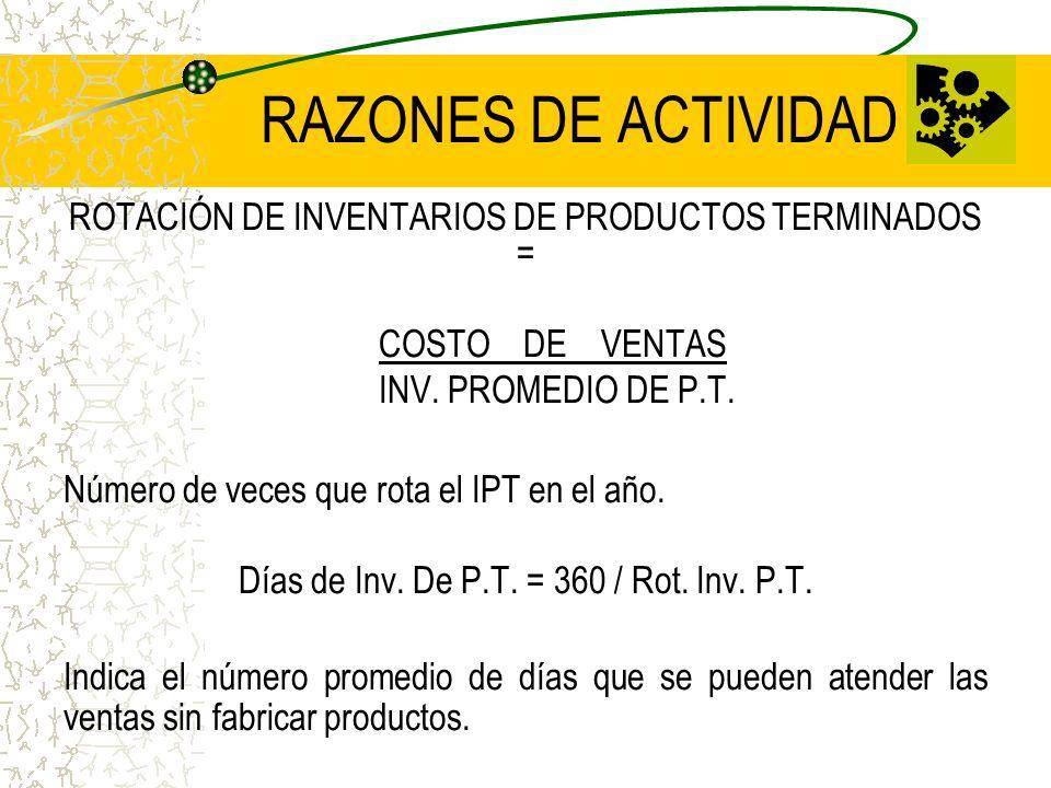 RAZONES DE ACTIVIDAD ROTACIÓN DE INVENTARIOS DE PRODUCTOS TERMINADOS = COSTO DE VENTAS INV. PROMEDIO DE P.T. Número de veces que rota el IPT en el año