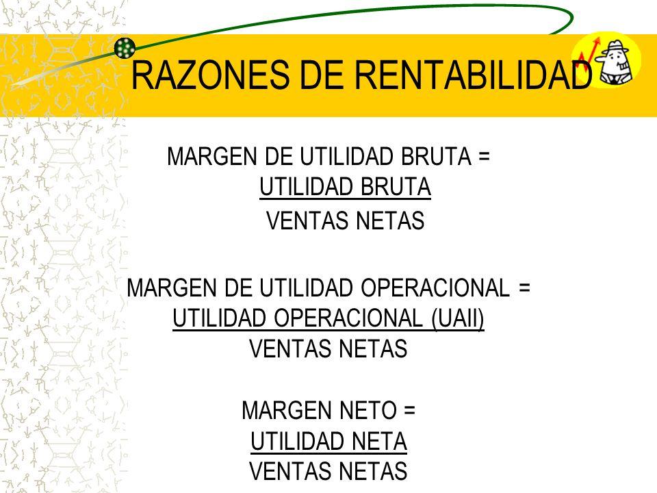 RAZONES DE RENTABILIDAD MARGEN DE UTILIDAD BRUTA = UTILIDAD BRUTA VENTAS NETAS MARGEN DE UTILIDAD OPERACIONAL = UTILIDAD OPERACIONAL (UAII) VENTAS NET
