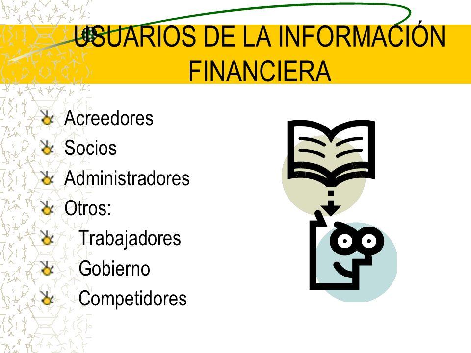 USUARIOS DE LA INFORMACIÓN FINANCIERA Acreedores Socios Administradores Otros: Trabajadores Gobierno Competidores